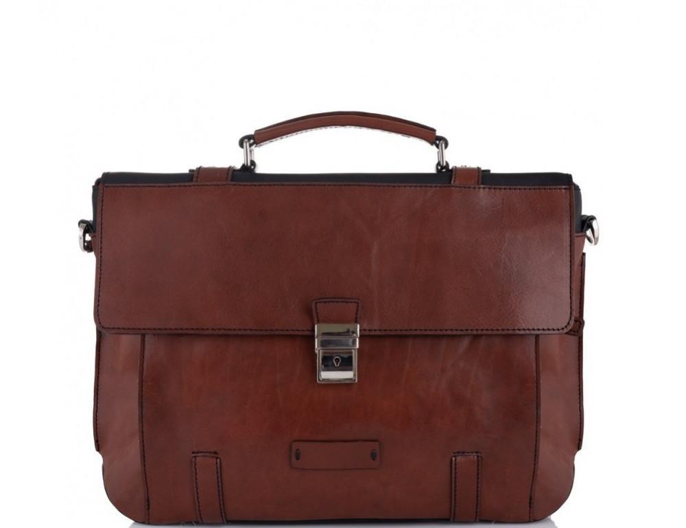Коричневый кожаный портфель Tiding Bag t0041 - Фото № 4