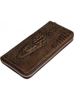 Коричневый кошелек под кожу крокодила Tidin Bag T1232C