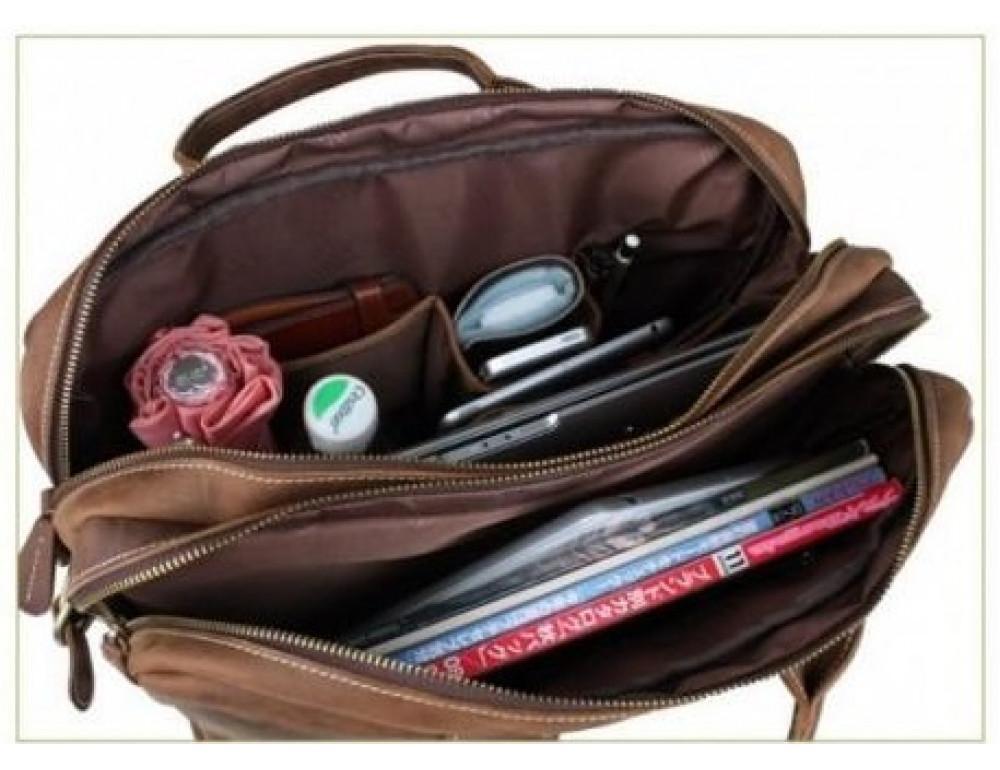 Кожаная сумка TIDING BAG T29523 коричневая - Фото № 4