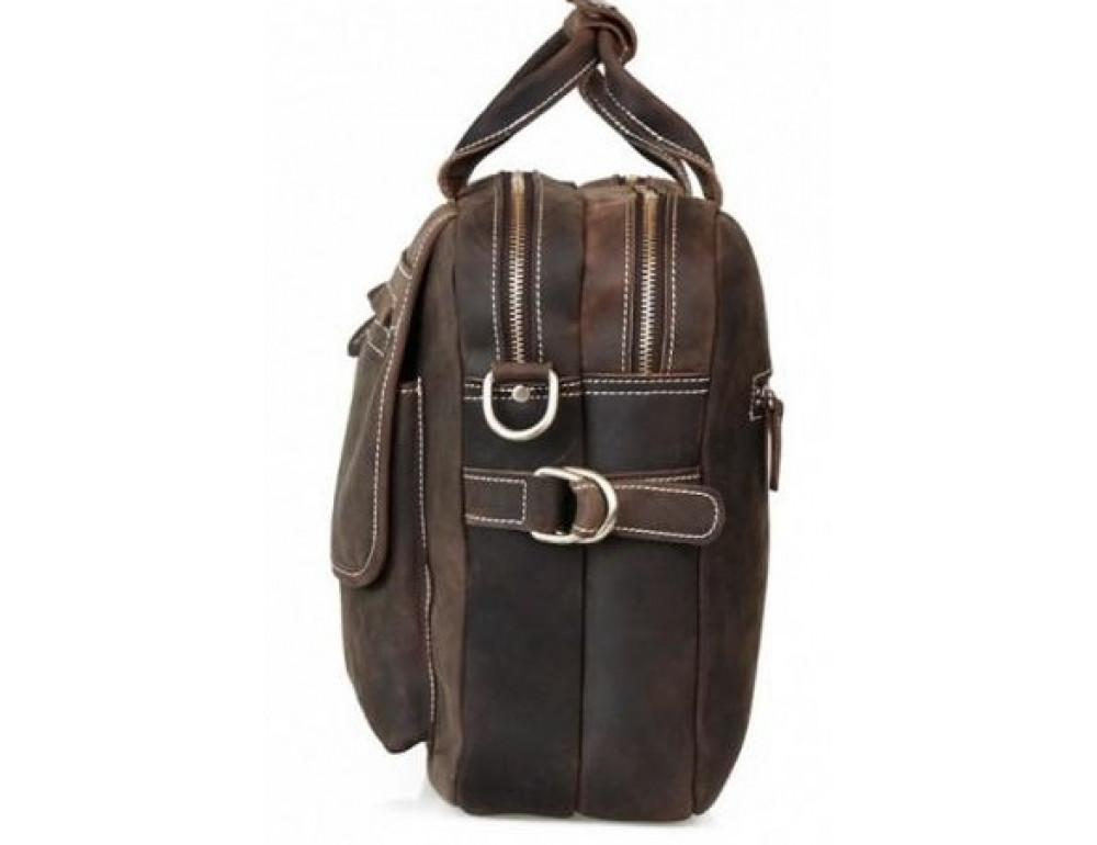 Кожаная сумка TIDING BAG T29523 коричневая - Фото № 3