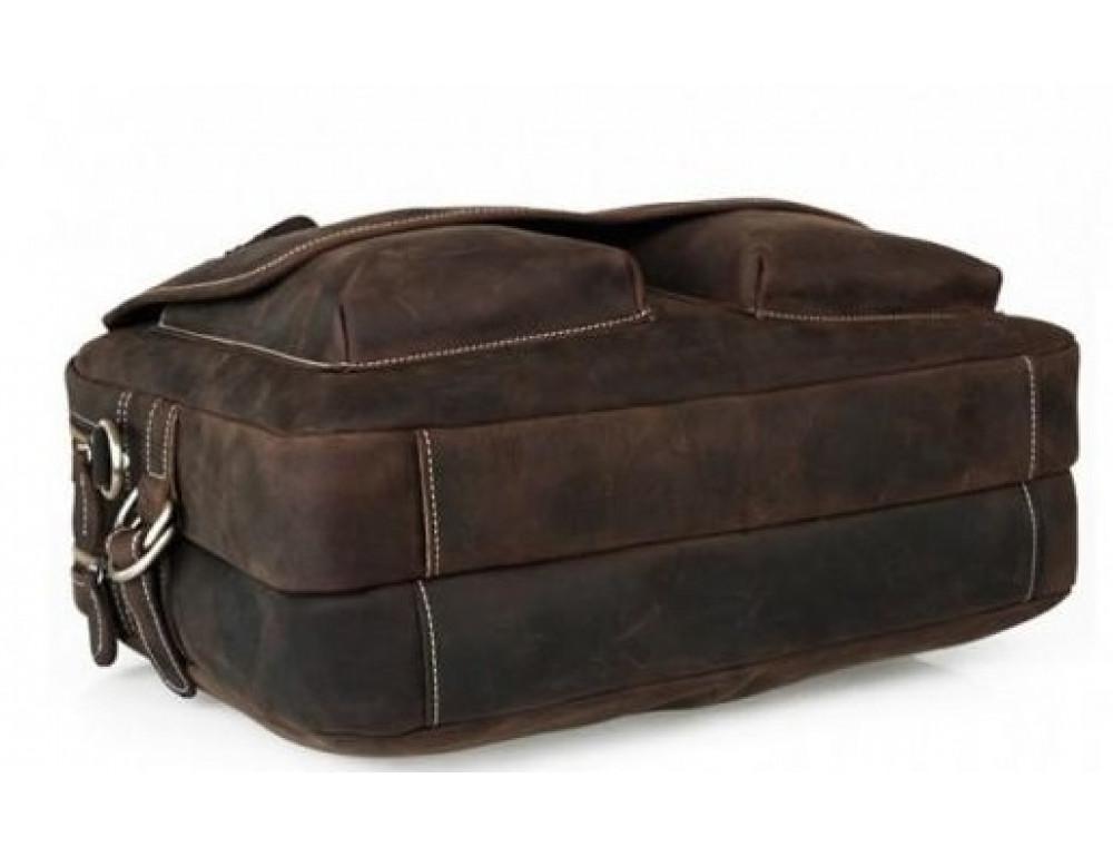 Кожаная сумка TIDING BAG T29523 коричневая - Фото № 7