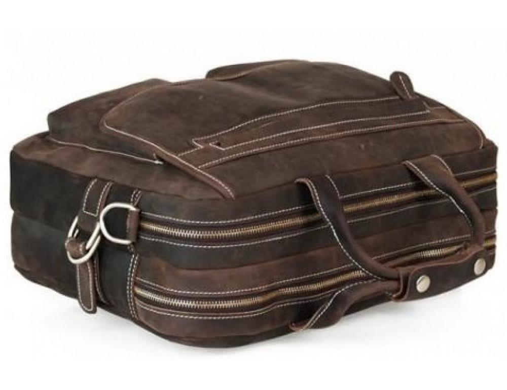 Кожаная сумка TIDING BAG T29523 коричневая - Фото № 8