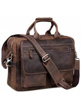 Кожаная сумка TIDING BAG T29523 коричневая