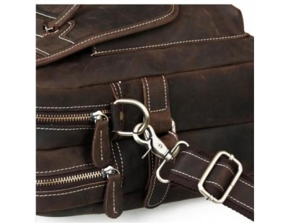 Кожаная сумка TIDING BAG T29523 коричневая - Фото № 9