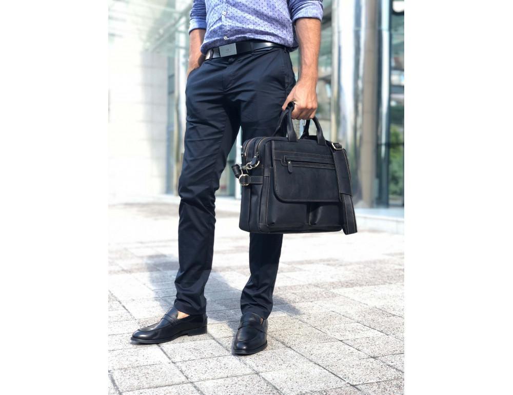 Чёрный кожаный портфель Tiding Bag t29523A Crazy Hourse - Фото № 2