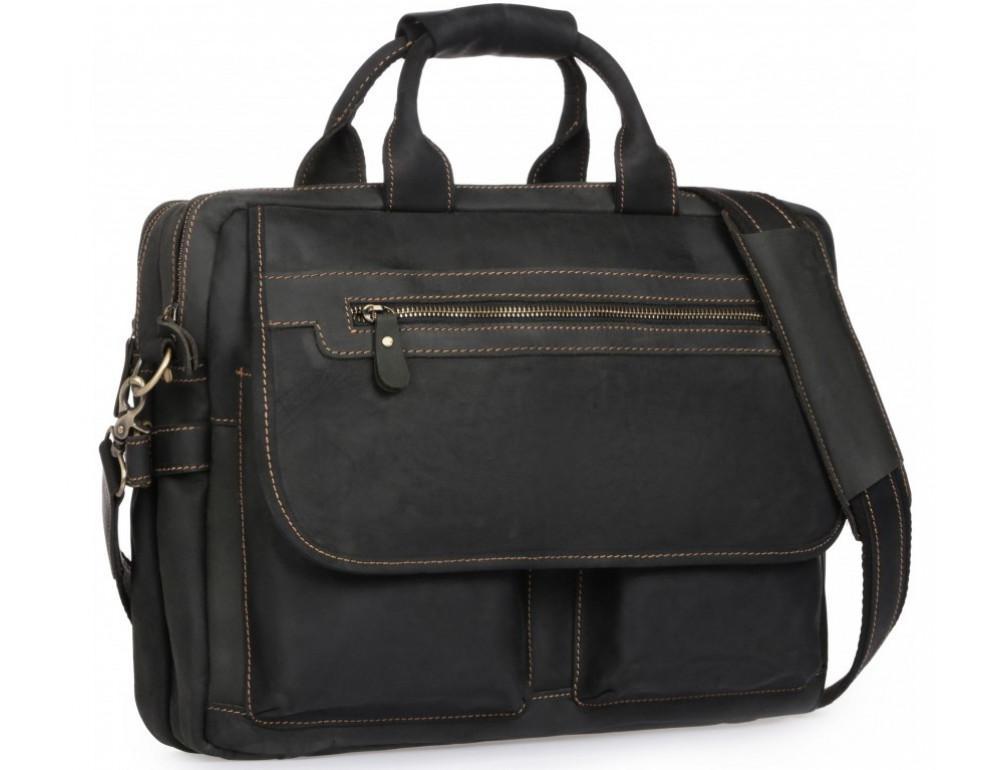 Чёрный кожаный портфель Tiding Bag t29523A Crazy Hourse - Фото № 1