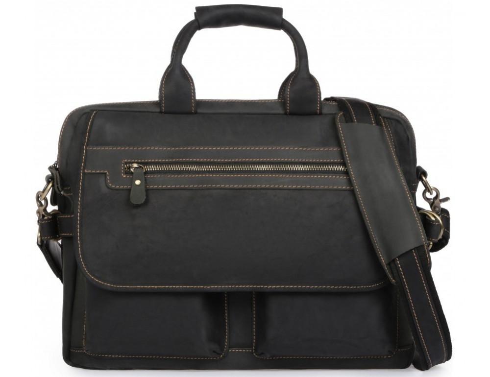 Чёрный кожаный портфель Tiding Bag t29523A Crazy Hourse - Фото № 3