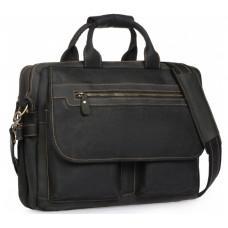Чёрный кожаный портфель Tiding Bag t29523A Crazy Hourse