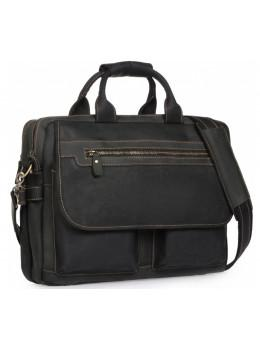 Чорний шкіряний портфель Tiding Bag t29523A Crazy Hourse