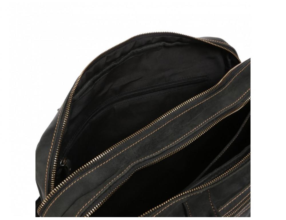 Чёрный кожаный портфель Tiding Bag t29523A Crazy Hourse - Фото № 4