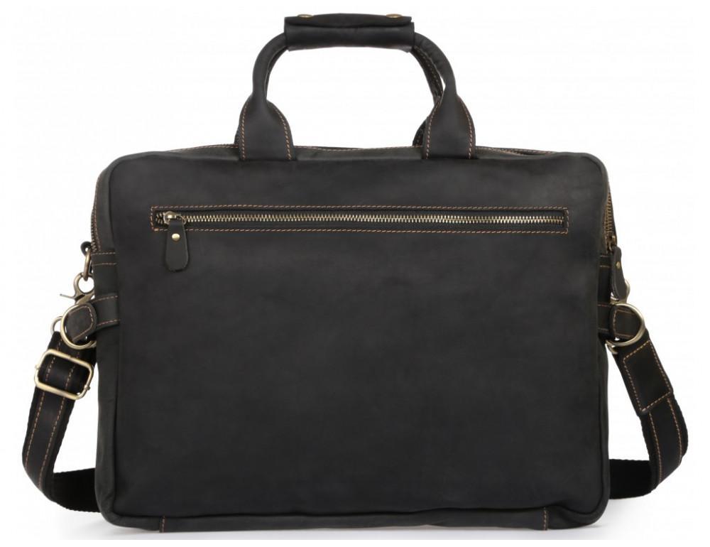 Чёрный кожаный портфель Tiding Bag t29523A Crazy Hourse - Фото № 5