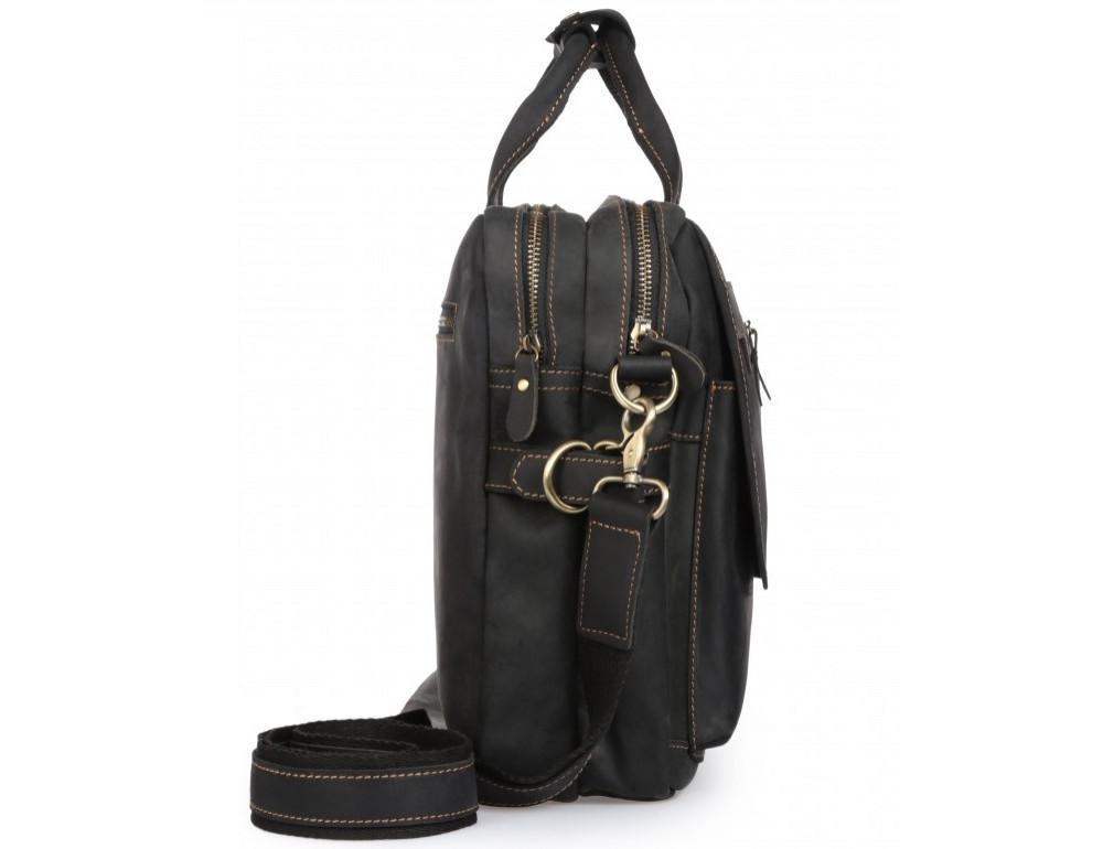 Чёрный кожаный портфель Tiding Bag t29523A Crazy Hourse - Фото № 6
