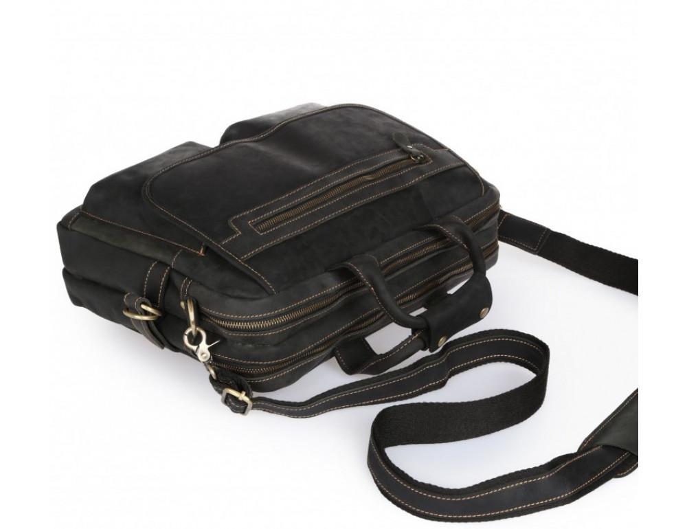 Чёрный кожаный портфель Tiding Bag t29523A Crazy Hourse - Фото № 7