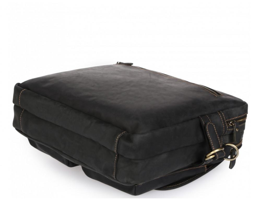 Чёрный кожаный портфель Tiding Bag t29523A Crazy Hourse - Фото № 8