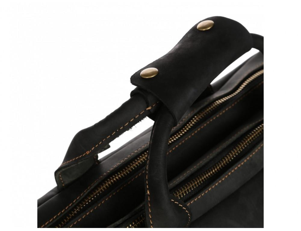 Чёрный кожаный портфель Tiding Bag t29523A Crazy Hourse - Фото № 9
