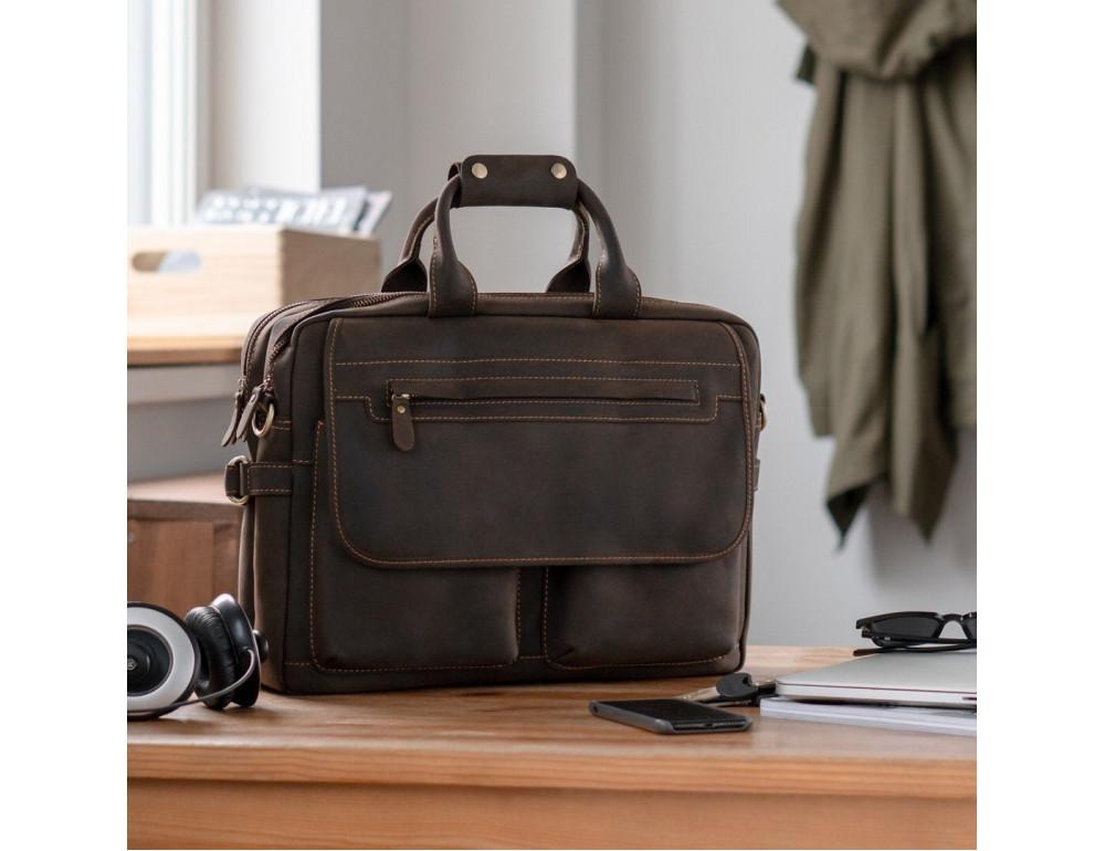 Кожаная сумка TIDING BAG T29523 коричневая - Фото № 2