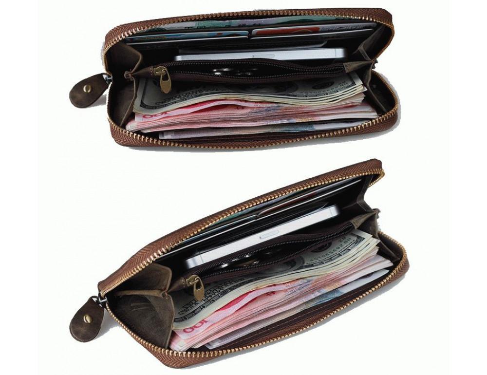 Кожаный клатч TIDING BAG T4007 коричневый - Фото № 2