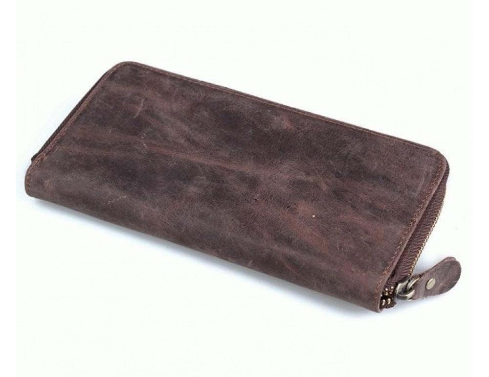 Кожаный клатч TIDING BAG T4007 коричневый - Фото № 4