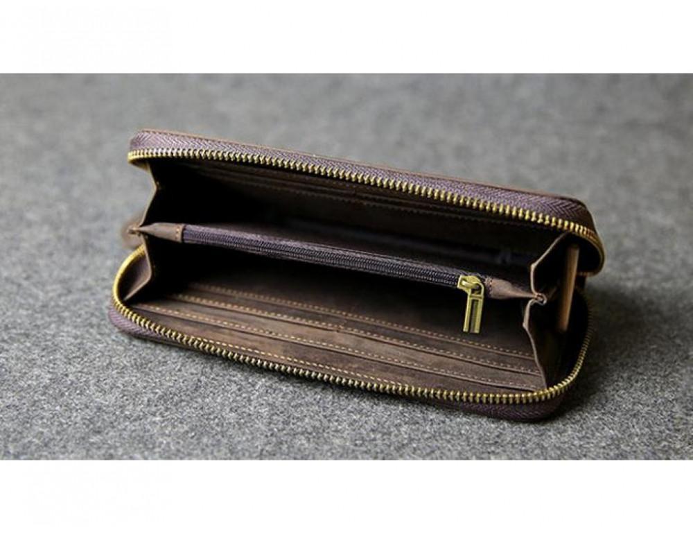 Кожаный клатч TIDING BAG T4007 коричневый - Фото № 5