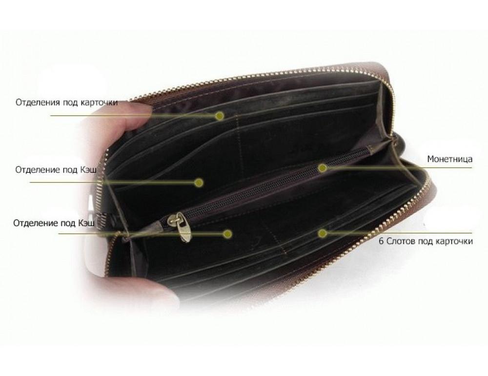 Кожаный клатч TIDING BAG T4007 коричневый - Фото № 7