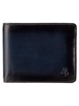 Синий мужской кожаный кошелёк без застёжки Visconti AT60 BLUE Arthur c RFID