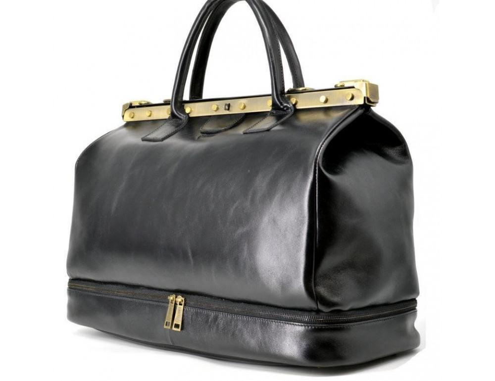 Чёрный кожаный саквояж с двойным дном TARWA TA-1185-4lx - Фото № 7