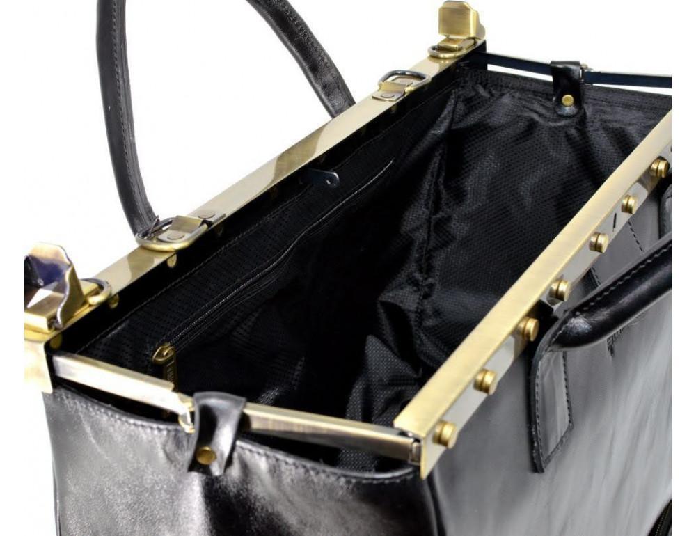 Чёрный кожаный саквояж с двойным дном TARWA TA-1185-4lx - Фото № 3