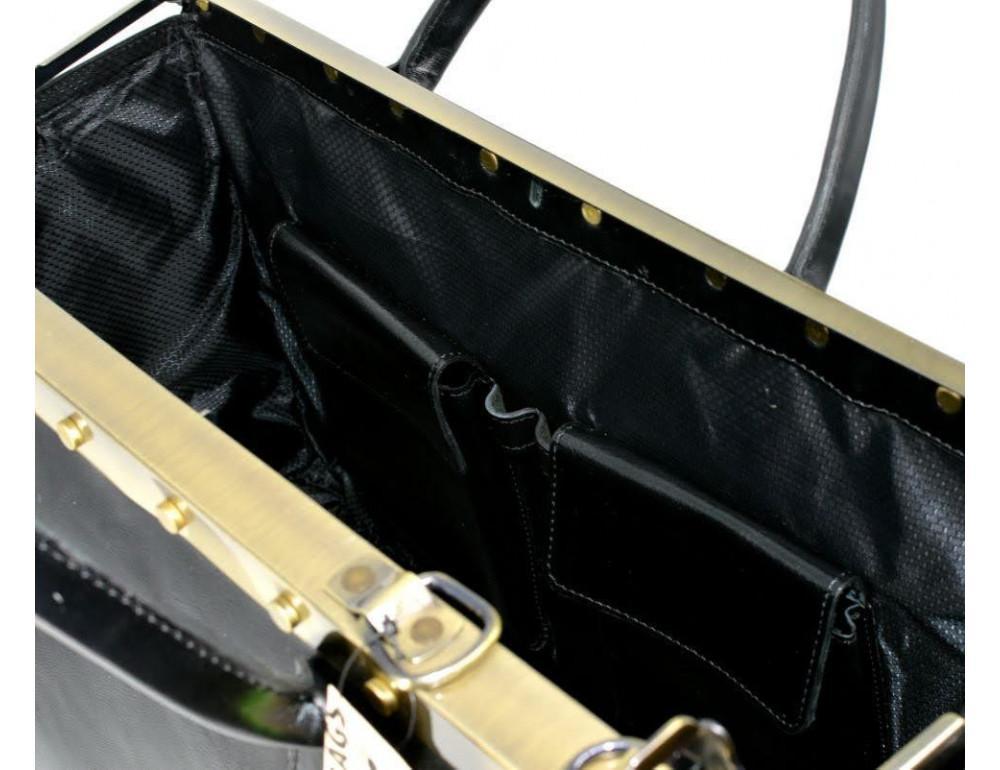 Чёрный кожаный саквояж с двойным дном TARWA TA-1185-4lx - Фото № 4