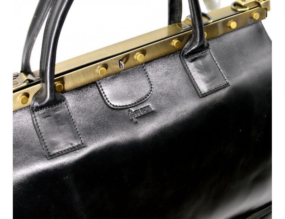 Чёрный кожаный саквояж с двойным дном TARWA TA-1185-4lx - Фото № 5