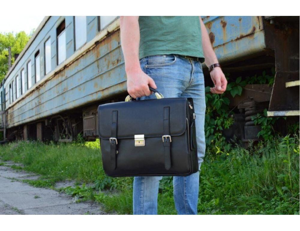 Чорний чоловічий портфель з гладкої шкіри TARWA TA-4464-4lx - Фотографія № 2