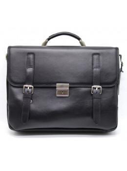 Чёрный мужской портфель из гладкой кожи TARWA TA-4464-4lx