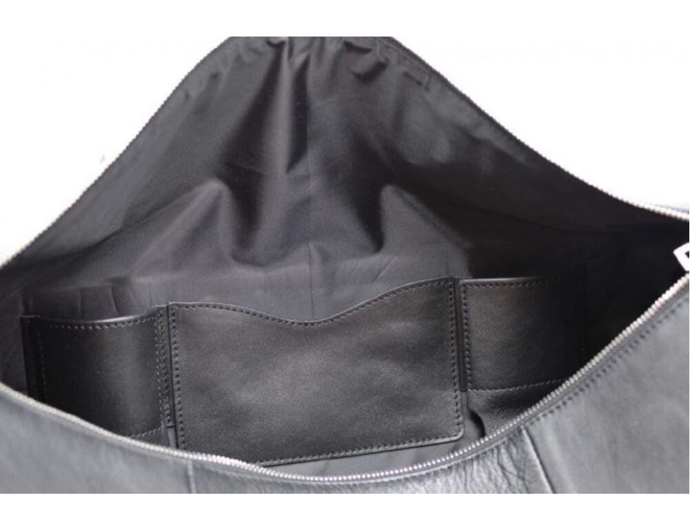 Чёрная дорожная сумка бочонкой из натуральной кожи TA-5564-4lx - Фото № 2