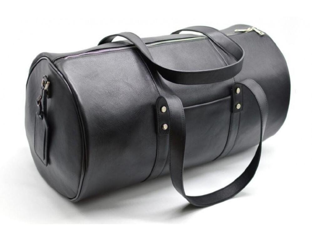 Чёрная дорожная сумка бочонкой из натуральной кожи TA-5564-4lx - Фото № 1