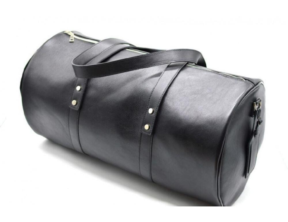 Чёрная дорожная сумка бочонкой из натуральной кожи TA-5564-4lx - Фото № 3