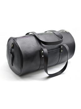 Чёрная дорожная сумка бочонкой из натуральной кожи TA-5564-4lx