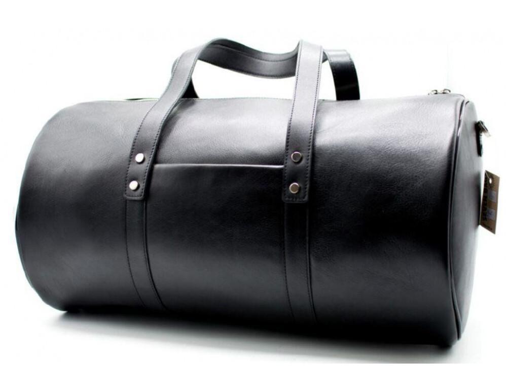Чёрная дорожная сумка бочонкой из натуральной кожи TA-5564-4lx - Фото № 4