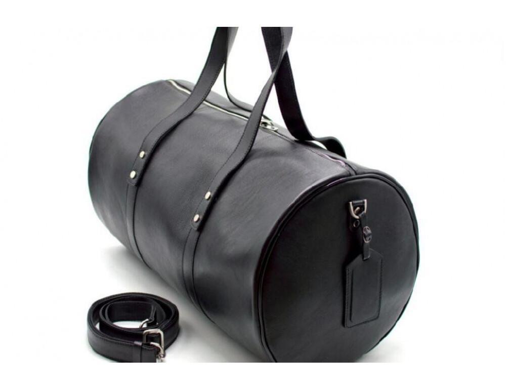 Чёрная дорожная сумка бочонкой из натуральной кожи TA-5564-4lx - Фото № 5