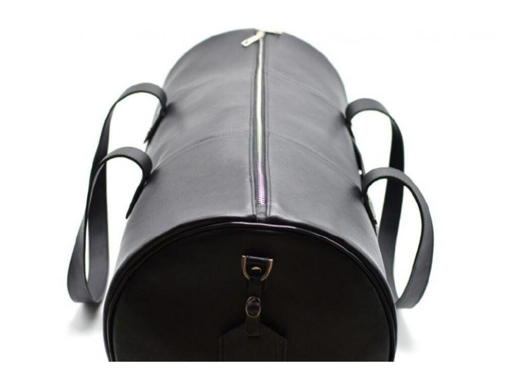 Чёрная дорожная сумка бочонкой из натуральной кожи TA-5564-4lx - Фото № 6