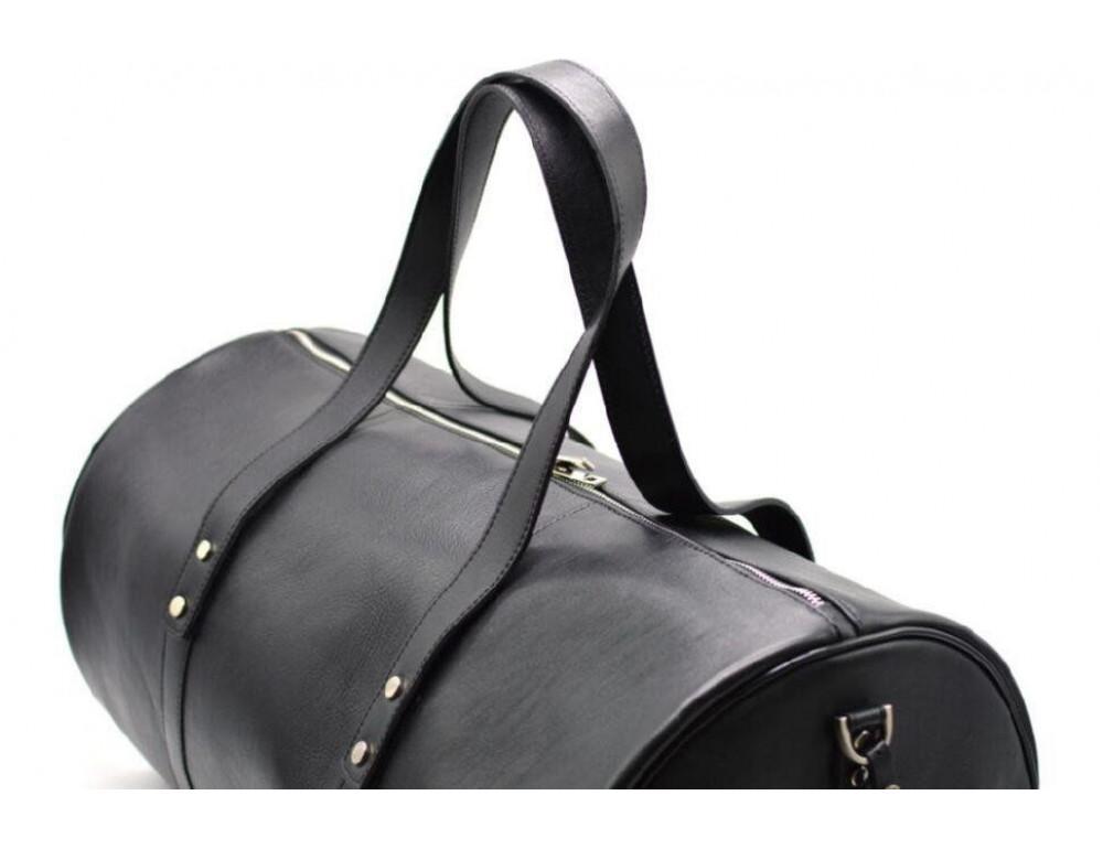 Чёрная дорожная сумка бочонкой из натуральной кожи TA-5564-4lx - Фото № 7