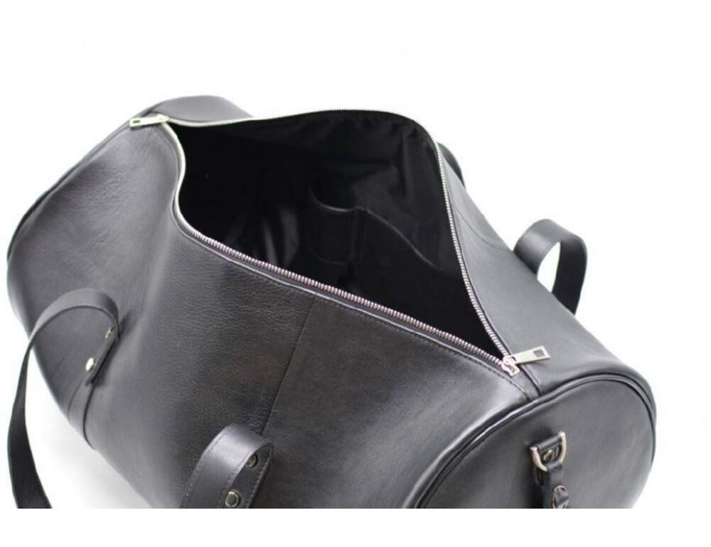 Чёрная дорожная сумка бочонкой из натуральной кожи TA-5564-4lx - Фото № 8