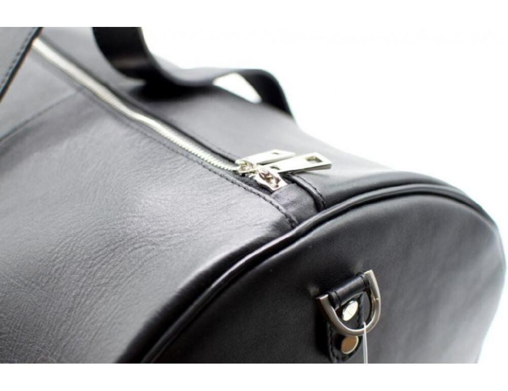 Чёрная дорожная сумка бочонкой из натуральной кожи TA-5564-4lx - Фото № 9
