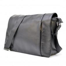 Чёрная сумка на плечо мужская из натуральной кожи TARWA GA-7338-3md