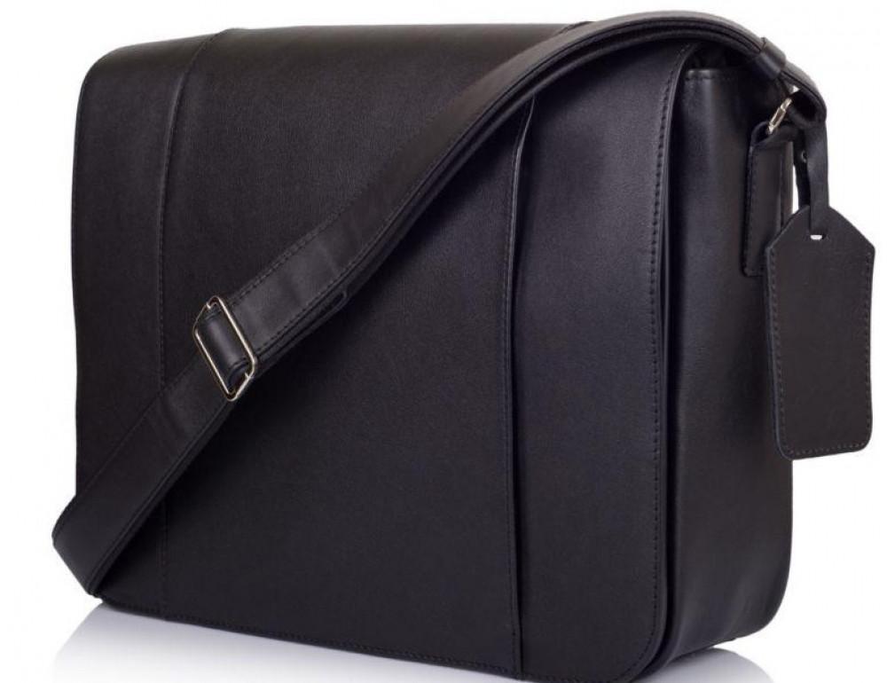 Чёрная сумка на плечо мужская из натуральной кожи TARWA TA-7338-4lx