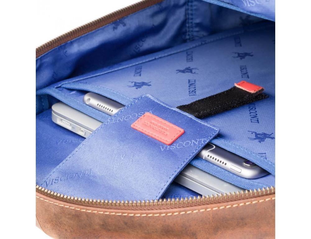 Коричневый кожаный рюкзак мужской Visconti TC80 TAN - Фото № 8