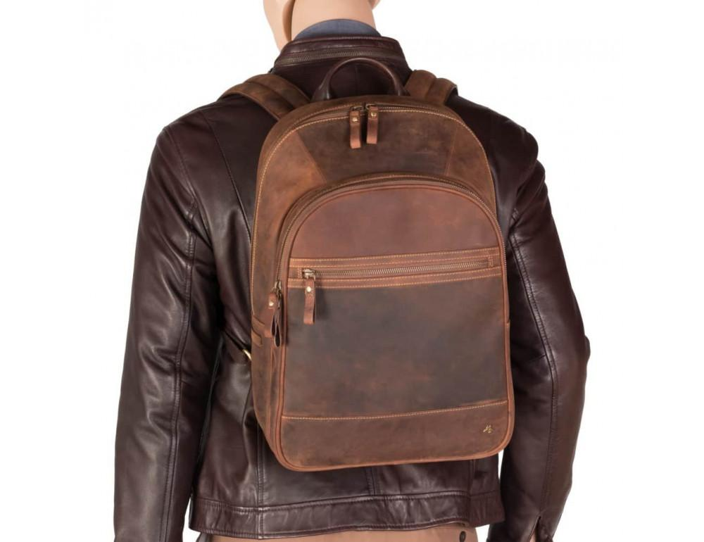 Коричневый кожаный рюкзак мужской Visconti TC80 TAN - Фото № 6