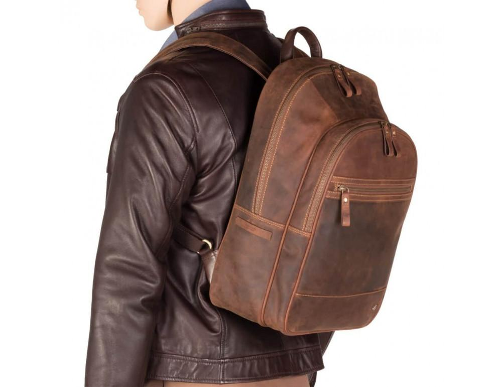 Коричневый кожаный рюкзак мужской Visconti TC80 TAN - Фото № 7