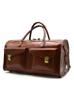 Коричневая дорожная сумка из телячьей кожи TARWA TB-5664-4lx