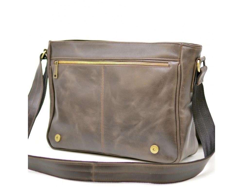 Тёмно-коричневая сумка на плечо мужская из натуральной кожи TARWA GC-7338-3md - Фото № 3