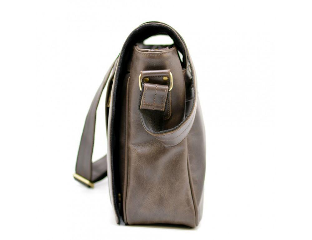 Тёмно-коричневая сумка на плечо мужская из натуральной кожи TARWA GC-7338-3md - Фото № 4