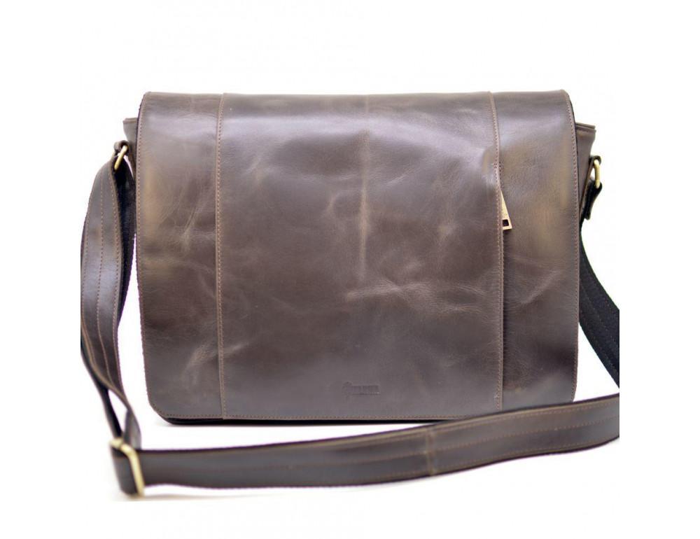 Тёмно-коричневая сумка на плечо мужская из натуральной кожи TARWA GC-7338-3md - Фото № 5